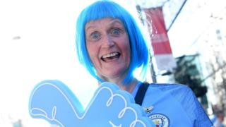 Manchester City supporter outside WEmbley