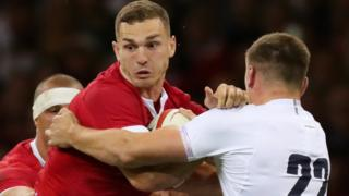 George North playing for Wales