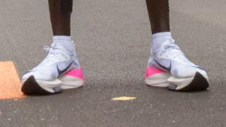 Eliud Kipchoge's Nike prototype shoes he wore to run a marathon in under two hours
