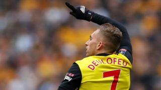 Gerard Deulofeu celebrates scoring Watford's first goal
