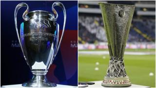 Champions League trophy and Uefa trophy