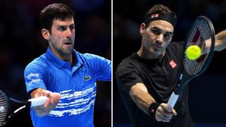 Novak Djokovic faces Roger Federer at the ATP Finals in London