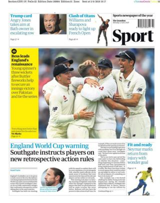 Monday's Guardian back page