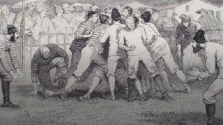 1874 game of rugby in front of Mount Fuji from The Graphic magazine