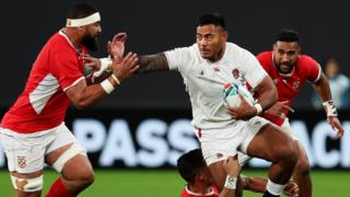 Manu Tuilagi on the charge for England