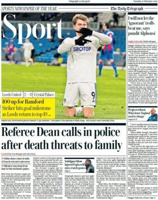 La première page de la section sportive du Daily Telegraph