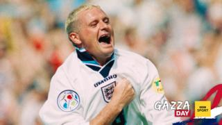 Paul Gascoigne scores England's second goal against Scotland
