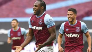 Michail Antonio celebrates scoring for West Ham against Manchester City in the Premier League