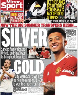 Back page of the Mirror on 24 July 2021