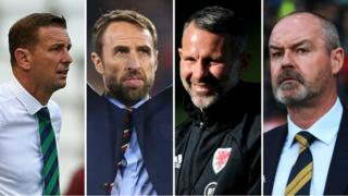 Northern Ireland manager Ian Baraclough, England manager Gareth Southgate, Wales manager Ryan Giggs, and Scotland boss Steve Clarke,
