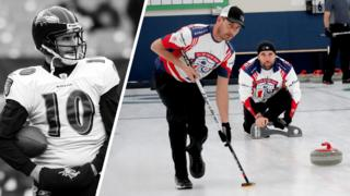 Marc Bulger in his NFL days and curling
