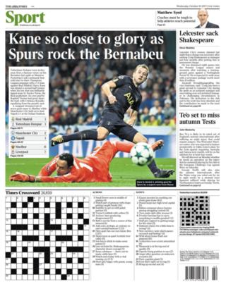 The Times back page on Wednesday