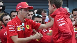 Charles Leclerc and Sebastian Vettel shake hands
