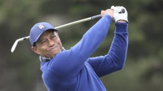 Tiger Woods playing at the 2020 US PGA Championship