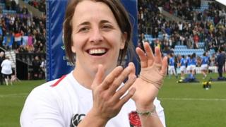 Katy Daley-Mclean claps the crowd at Sandy Park