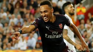 Arsenal's Pierre-Emerick Aubameyang scores