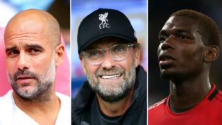 Pep Guardiola, Jurgen Klopp and Paul Pogba