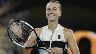 Petra Kvitova smiles after beating Ash Barty