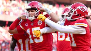 Patrick Mahomes reacts after running for a 27-yard touchdown for the Kansas City Chiefs