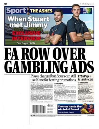 Back page of Sunday's The Mail on Sunday
