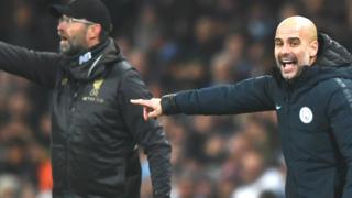 Liverpool manager Jürgen Klopp and Man City manager Pep Guardiola