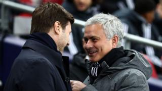 Jose Mourinho with Mauricio Pochettino