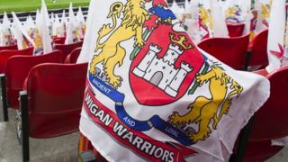 Wigan Warriors flags at Old Trafford