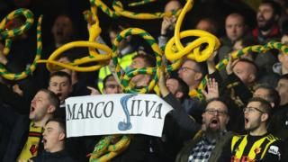 Watford fans with inflatable snakes