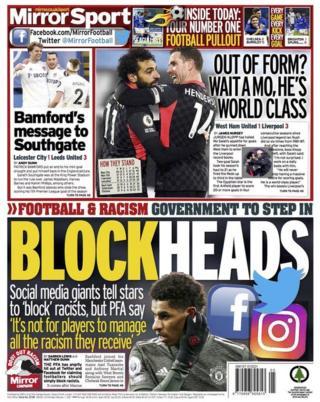 Daily Mirror'ın arka sayfası