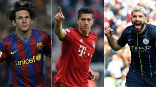 Lionel Messi, Robert Lewandowski and Sergio Aguero