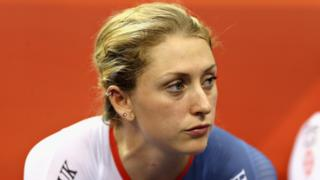 Britain's four-time Olympic champion Laura Kenny looks on