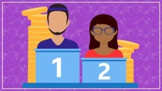 A graphic showing a man 1st on a podium with a stack of coins behind and a woman second with a smaller stack of coins