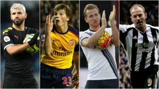 Sergio Aguero, Andrei Arshavin, Harry Kane and Alan Shearer