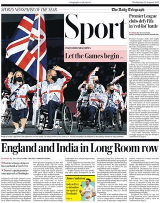 La portada de la sección de deportes del Daily Telegraph