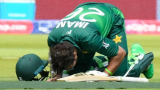 Pakistan's Imam-ul-Haq kisses the Lord's turf after reaching a century