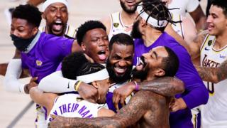LeBron James celebrating LA Lakers NBA Finals win