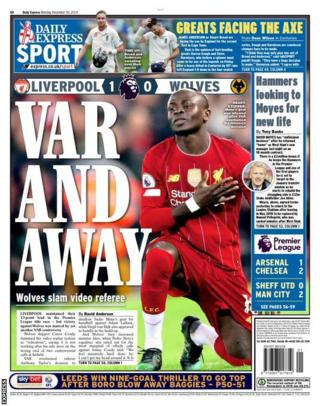 The back page of Monday's Express
