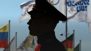 The silhouette of a Sochi soldier