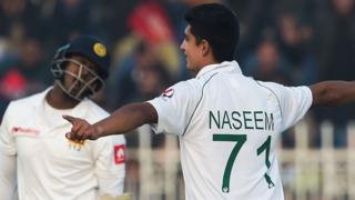 Naseem Shah celebrates a wicket