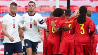 England and Belgium players