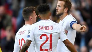 England's Harry Kane, Jadon Sancho and Mason Mount