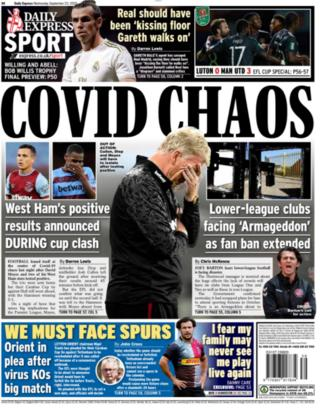 News of three positive Covid-19 tests at West Ham is the focus of the back page of the Express