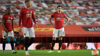 Manchester United players after conceding late goal against Southampton
