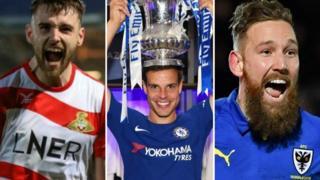 Doncaster Rovers' Ben Whiteman (left), Chelsea's Cesar Azpilicueta and AFC Wimbledon's Scott Wagstaff