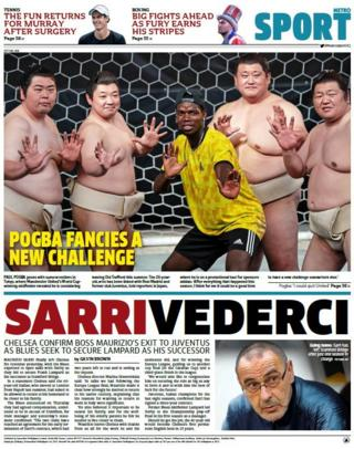Metro back page on Monday