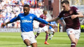 Rangers striker Jermain Defoe and Hearts defender John Souttar