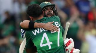 Wahab Riaz and Imad Wasim celebrate victory
