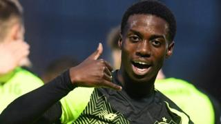 Celtic's Timothy Weah after giving Celtic the lead