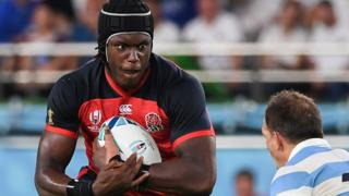 England's Maro Itoje carries the ball in the World Cup pool match against Argentina
