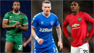 (left to right) Wolves' Adama Traore, Rangers' Ryan Kent and Manchester United's Odion Ighalo